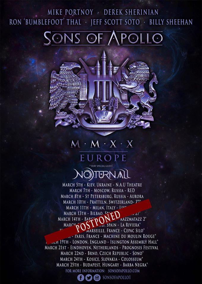 Sons of Apollo cancela su gira europea por el Coronavirus